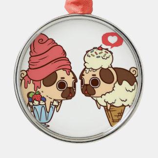 pug_ice_cream.png metal ornament