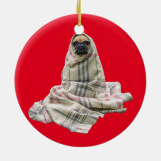Pug in a Blanket Custom Background Color Ceramic Ornament