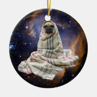 Pug in a Blanket in Outer Space Round Ceramic Ornament