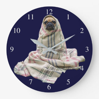 Pug in a Blanket Small Numbers Large Clock