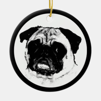 Pug in Circle Ceramic Ornament
