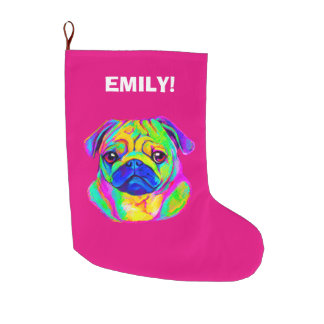Pug in Colors at Christmas Name Customizable Large Christmas Stocking