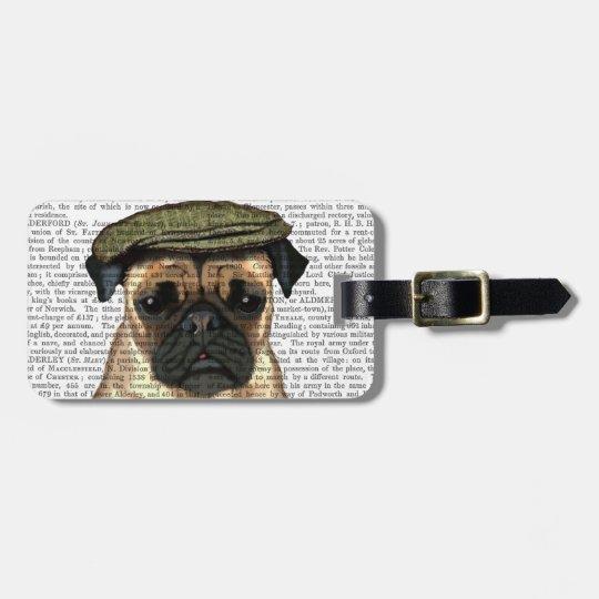 Pug in Flat Cap Luggage Tag