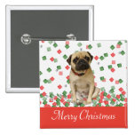 Pug in Hand Painted Christmas Confetti 2 Inch Square Button
