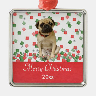 Pug in Hand Painted Christmas Confetti Metal Ornament