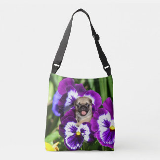 Pug in Pansies bag