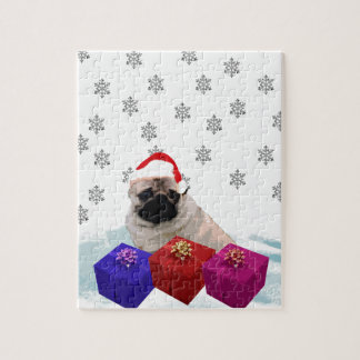 Pug in Snow with Gifts and Santa Hat Jigsaw Puzzle
