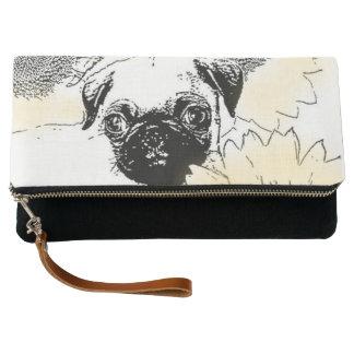Pug in sunflowers dog clutch purse