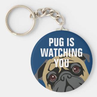 Pug Is Watching Basic Round Button Keychain