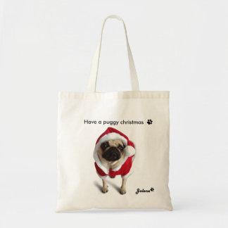 Pug Jolene Kersttas Tote Bag