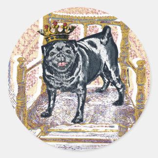 Pug King Round Sticker