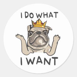 PUG KING Villi Classic Round Sticker