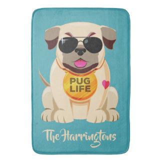 Pug Life custom name & color bath mats