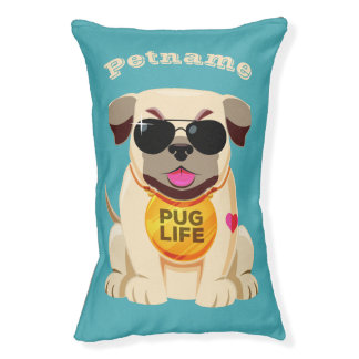 Pug Life custom name & color dog beds