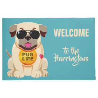 Pug Life custom name & color door mat
