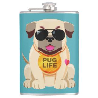 Pug Life custom name & color flask