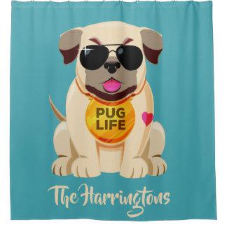 Pug Life custom name & color shower curtain