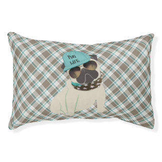 Pug Life Dog in Cap Bandana Shades Plaid Small Dog Bed