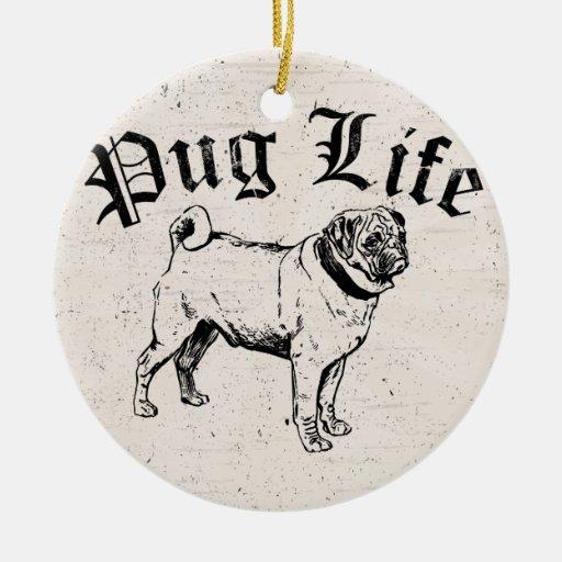 Pug Life Funny Dog Gangster Ornament
