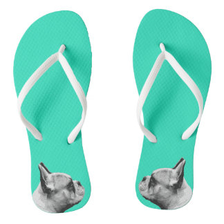 Pug Love | Aqua Colored Flip Flops