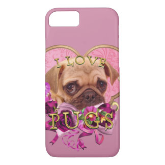 Pug Love in Pink Heart Samsung Galaxy S8 iPhone 8/7 Case