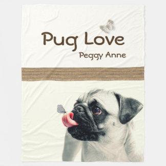 Pug Love - PERSONALIZE - Plush Blanket