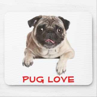 Pug Love Puppy Dog Sticking Out Tongue Mousepad