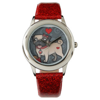 Pug Love! Red/Silver/Glitter/Hearts Analog Watch