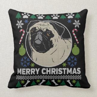 Pug Merry Christmas Ugly Sweater Throw Pillow