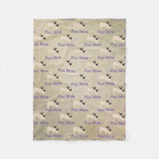 Pug Mom Pattern Earthy Background Fleece Blanket