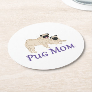 Pug Mom Purple Text 2 Fawn Pug Dogs Round Paper Coaster