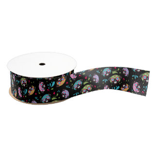 Pug Multi Color Sugar Skulls Pattern Ribbon Grosgrain Ribbon