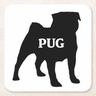 pug name silo square paper coaster