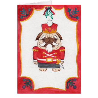 pug nutcracker christmas card