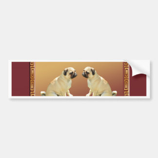 Pug  on Asian Design Chinese New Year of the Dog Bumper Sticker