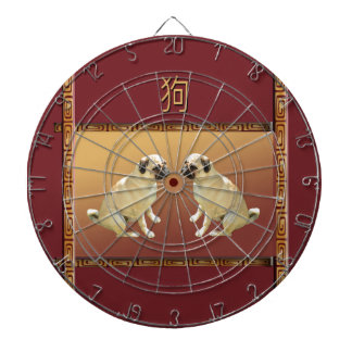 Pug  on Asian Design Chinese New Year of the Dog Dartboard