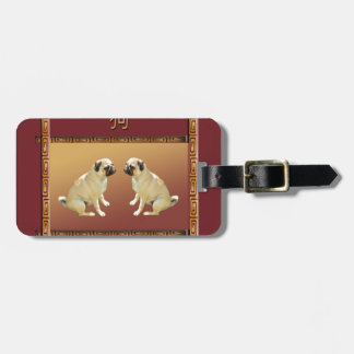 Pug  on Asian Design Chinese New Year of the Dog Luggage Tag