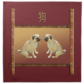 Pug  on Asian Design Chinese New Year of the Dog Napkin