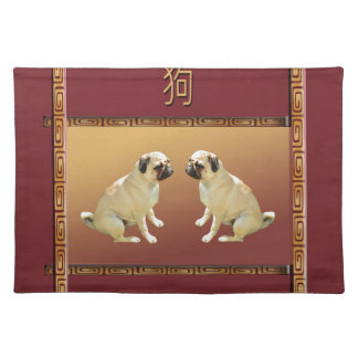 Pug  on Asian Design Chinese New Year of the Dog Placemat
