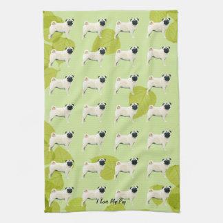 Pug on Green Leaves Hand Towel
