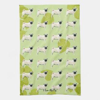 Pug on Green Leaves Kitchen Towel