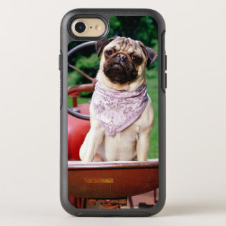 Pug on lawnmower wearing bandana OtterBox symmetry iPhone 8/7 case