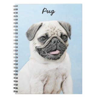Pug Painting - Cute Original Dog Art Notebook