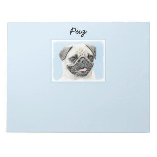 Pug Painting - Cute Original Dog Art Notepad