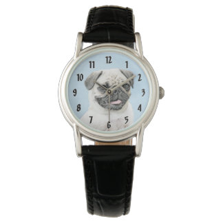 Pug Painting - Cute Original Dog Art Watch