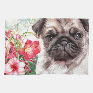 Pug Painting Kitchen Towel