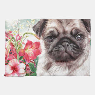 Pug Painting Kitchen Towels
