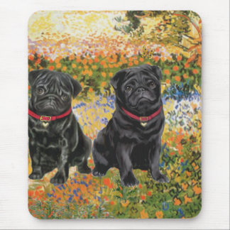 Pug Pair (black) - Garden (VG) Mouse Pad