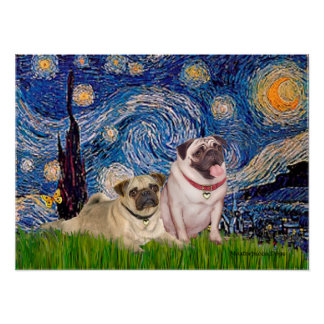 Pug Pair (fawn) - Starry Night Poster