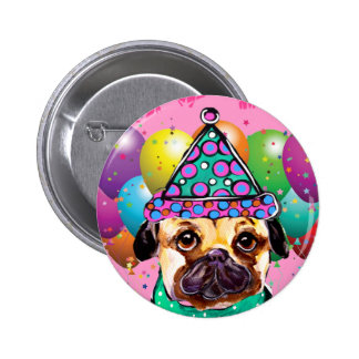 Pug Party Dog 2 Inch Round Button